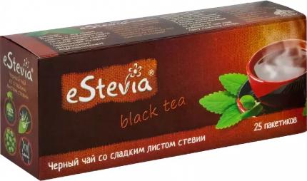 Чай черный eStevia со сладким листом стевии 25 пакетиков