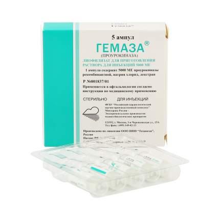 Гемаза лиофилизат 5000 МЕ 1 мл 5 шт.