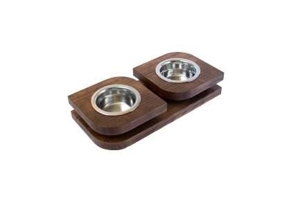 Двойная миска на подставке из массива бука BEDFOR BloomXS для кошек и маленьких собак, кор