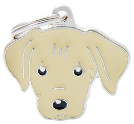 Адресник на ошейник для собак My Family Colors Лабрадор, кремовый, средний, 3,3х2,6 см