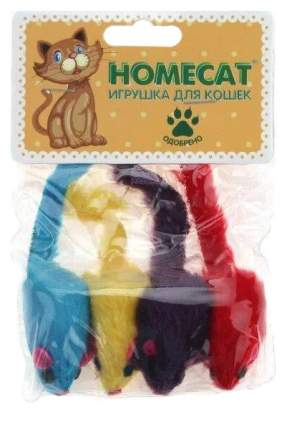 Игрушка для кошек Homecat Мышки плюшевые цветные гремящие, 5 см, 4 шт.