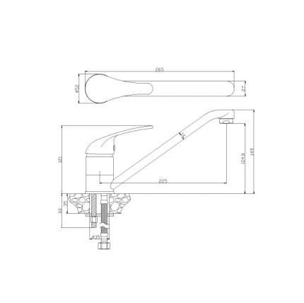 Смеситель для кухонной мойки Rossinka Silvermix Y40-21 хром