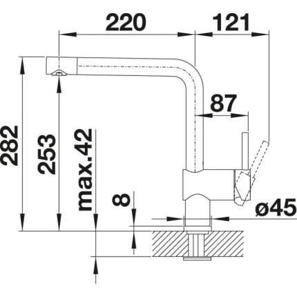 Смеситель для кухонной мойки Blanco LINUS 516701 серый шелк