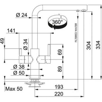 Смеситель для кухонной мойки Franke Neptune 115.0370.694 оникс