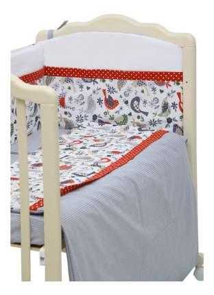 Текстильный бортик для кроватки Polini Кантри красный