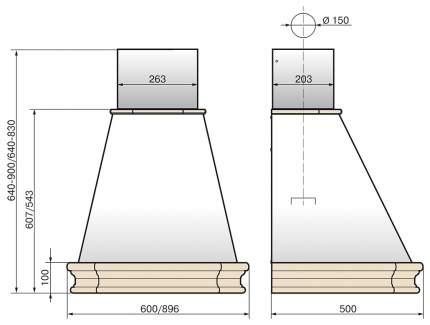 Вытяжка купольная Elikor Пергола 60П-650-П3Л Beige/Brown