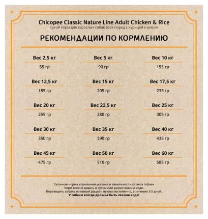 Сухой корм для собак Chicopee Classic Nature Line Adult Chicken&Rice, курица, рис, 15кг
