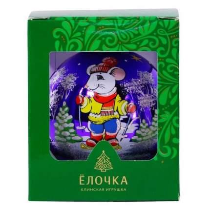 Шар на ель Новый год 8.5 см С 206-мышь-лыжи-фиолет