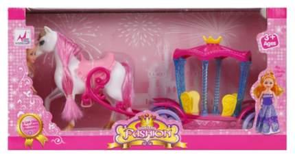 Карета с лошадкой и маленькой  куколкой, свет, звук