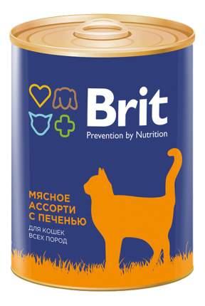 Консервы для кошек Brit Prevention by Nutrition, мясо, печень, 12шт, 340г