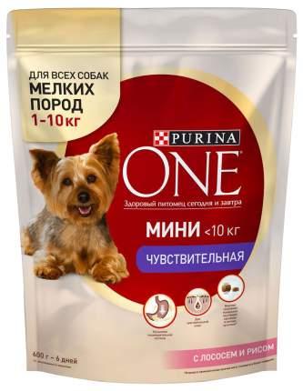 Сухой корм для собак Purina One Мини Чувствительная, лосось, рис, 0.6кг