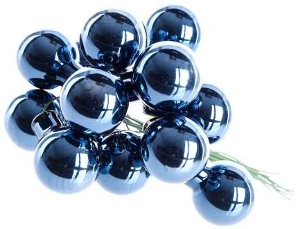 Гроздь стеклянных шаров Kaemingk на проволоке 25 мм синий бархат глянцевый, 12 шт 713022