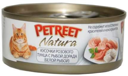 Консервы для кошек Petreet Natura, розовый тунец с рыбой дорада, консервы, 24шт, 70г