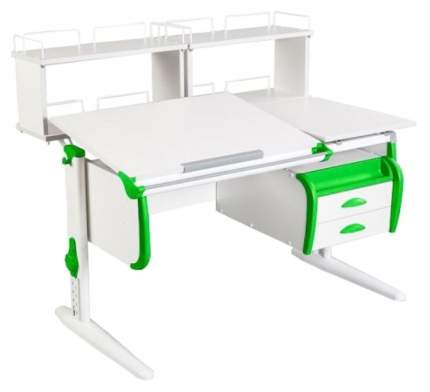 Парта Дэми White Стандарт СУТ-24-01Д1 С задней двухъярусной приставкой Белый/Зеленый