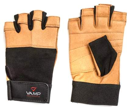 Перчатки для тяжелой атлетики и фитнеса VAMP 530, коричневые, XL
