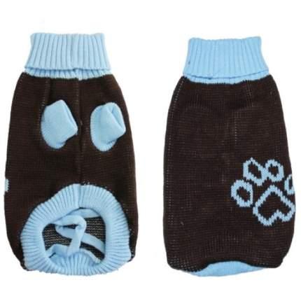 Свитер для собак Уют Лапка, черный с голубой окантовкой, 20 см