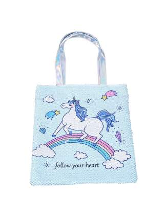 Сумка на плечо с пайетками Единорог Follow your heart небесно-голубая