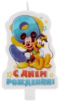 "Свеча в торт Дисней ""С днем рождения"" цифра 9 Микки Маус Disney"