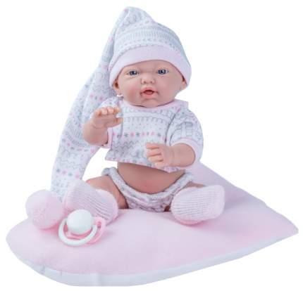 Пупс Nines d'Onil Новорожденный малыш в колпаке, с розовой подушкой