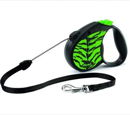 Рулетка-поводок flexi Safari Tiger, зеленая, S, 5 м, до 12 кг