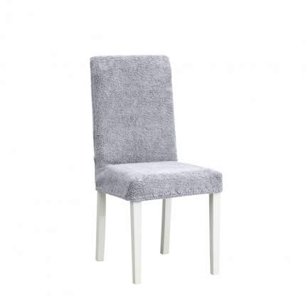 "Чехлы на стулья плюшевые Venera ""Chair cover soft"", цвет: серый, комплект 6 шт"