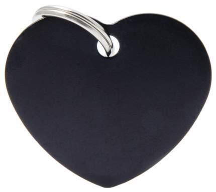 Адресник My Family Basic алюминиевый в форме сердца для кошек и собак (4 см, Черный)