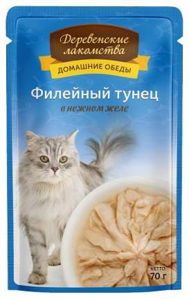 Влажный корм для кошек Деревенские лакомства, с филейным тунцом в желе, 12шт по 70г