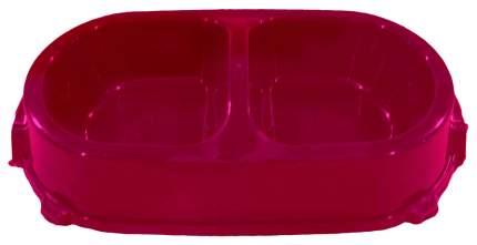 Двойная миска для кошек и собак FAVORITE, пластик, красный, 2 шт по 0.225 л