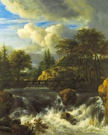 Репродукция Якоб ван Рёйсдал, Водопад в скалистом пейзаже 32х40 см