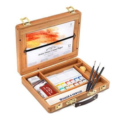 Акварель Winsor&Newton Professional Bamboo Box Half Pan 12 цветов
