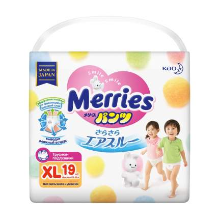 Подгузники-трусики Merries XL (12-22) 19 шт.