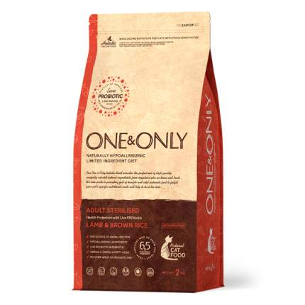 Сухой корм для кошек ONE&ONLY Adult STERILIZED, для стерилизованных, ягненок и рис, 2кг