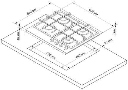 Встраиваемая варочная панель газовая Electronicsdeluxe TG4 750231 F-021 Silver