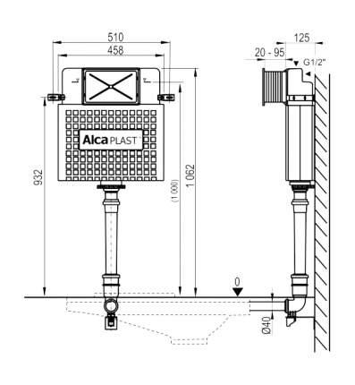 Бачок для инсталляции AlcaPlast Басикмодуль A112