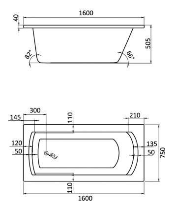Акриловая ванна Santek Монако 160х75 без гидромассажа