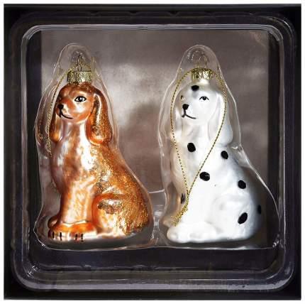 Набор елочных игрушек Kuchenland Собачки белая и коричневая Новогодний ансамбль 9 см 2 шт