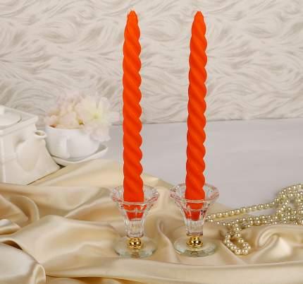 Витые свечи 24.5 см, 2 шт, оранжевый 008125