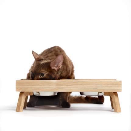 Миска для кошек и собак Pettel DOUBLE F, двойная, массив дуба, 2 х 0,25 л