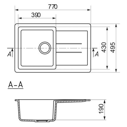 Мойка для кухни мраморная MIXLINE ML-GM30 бежевая