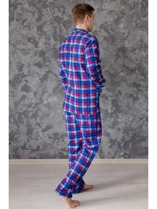 Мужская пижама из фланели LikaDress 5724 синяя, р.56