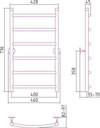 Водяной полотенцесушитель Стилье Универсал-50 800х400 арт. 00650-8040