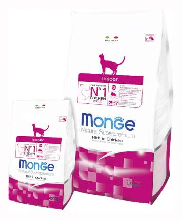 Сухой корм для кошек Monge Indoor, для домашних, курица, 1,5кг
