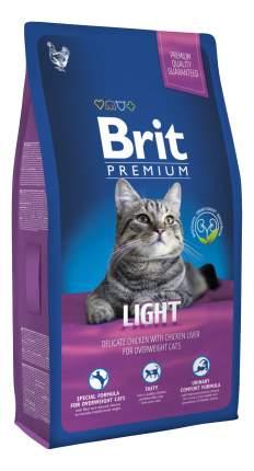 Сухой корм для кошек Brit Premium Light, облегченный, курица, печень, 1,5кг
