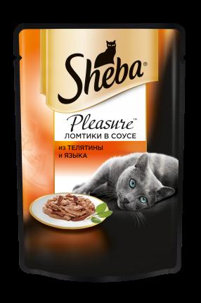 Влажный корм для кошек Sheba Pleasure ломтики из телятины и языка в соусе, 85г