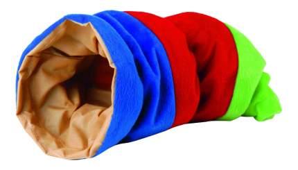 Тоннель для грызунов Beeztees текстиль, 16х35 см, цвет синий, красный, зеленый