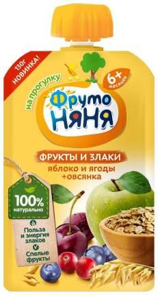 Пюре фруктовое ФрутоНяня из яблок и ягод с овсяными хлопьями 6 мес 130 г