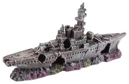 Декорация для аквариума корабль серый, черный