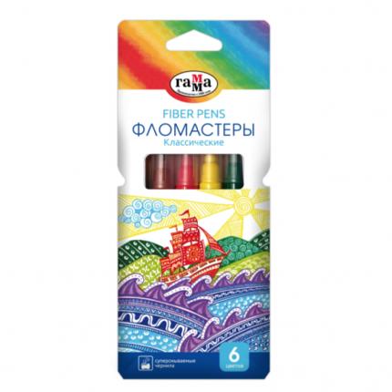 Фломастеры ГАММА Классические 6 цветов, картонная коробка 180319_09