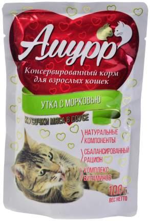 Влажный корм для кошек Амурр, утка и морковь, 24шт по 100г