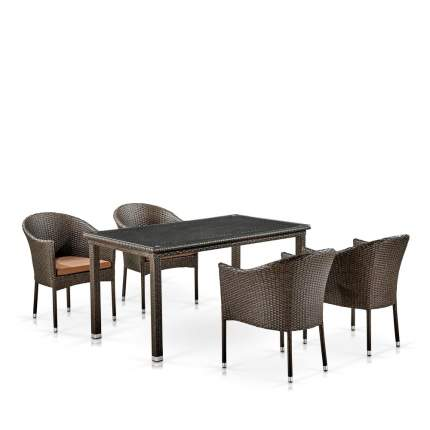 Комплект плетеной мебели Afina T256A/Y350A-W53 Brown  4Pcs